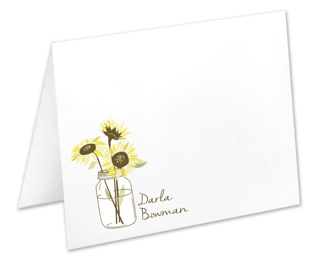 Featured listing image: Personalized Sunflower Stationery, Sunflower Note Cards, Flowers In A Mason Jar, Mason Jar Stationery, Sunflower Stationary, Sunflower Cards