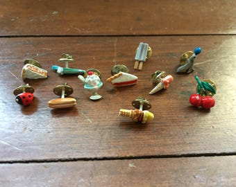 vintage lot of 11 tiny scatter pins // summery themes // fruit, popsicles // 1960's-70's