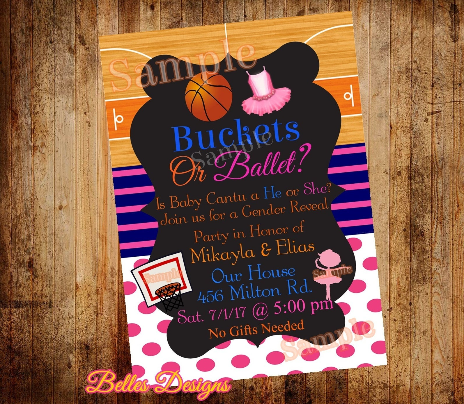 Gender reveal invitation basketball or ballet gender zoom m4hsunfo Gallery