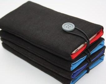 Eco wol sleeve-6 Plus iPhone case - iPhone 6 Plus sleeve -iPhone 7 plus cases + black linen cover for iPhone 6 Plus