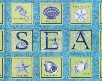Seascapes Fabric Panel // Moda fabric Seashells