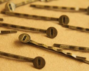20 pc. Antique Brass Bobby Pins, 8mm pad | FI-061