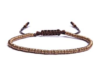 Men's brown and gold bracelet - sliding knot closure bracelet - brass beads - men's jewelry - mens bracelets - bohemian style - gift for him