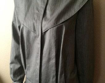 Vintage Women's 80's Tahari, Jacket, Grey, Striped, Fully Lined (L)