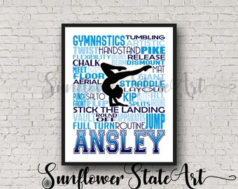 Personalized Gymnastics Poster Typography, Gymnast Gift, Gift for Gymnasts, Gymnastic Team Gift, Gymnastic Art, Gymnast Print,