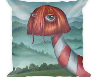 "Square Pillow ""Creature in the Mist"" Original Oil Painting Print, Decorative Throw Pillow"