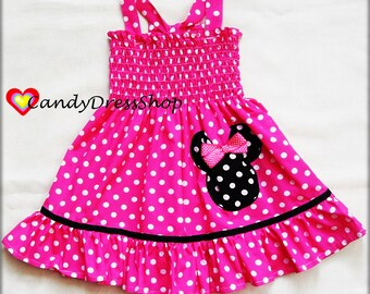 Minnie Mouse inspired dress, Hot pink and white polka dot dress for girls, Minnie Mouse applique dress, Minnie Dress and matching headband