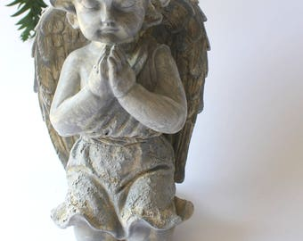 Angel Statue, cherub statue, garden angel, garden cherub, stone angel, stone cherub, winged angel handpainted cherub spiritual garden decor