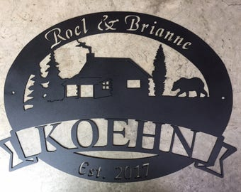 3 ft Personalized, metal SIGN with CABIN and BEAR