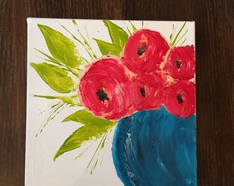 Flower painting red peony in a blue vase.