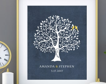 Personalized Wedding Gift for Couples Gift for Her Him Newlywed Engagement Anniversary Gift, Love Birds Wedding Family Tree Art Print - 8x10