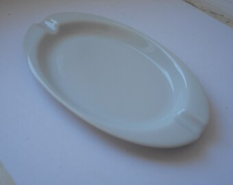 vintage Limoges porcelain oval shaped plain white ashtray
