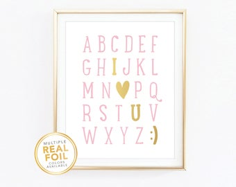 I Love You Alphabet Nursery Decor Real Foil Print, ABC Silver foil, Gold foil, 8x10, Home Decor, Wall Art 03