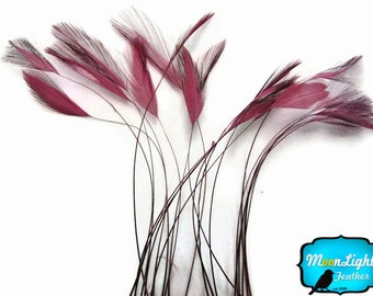 Stripped Feathers, 1 Dozen - DUSTY ROSE Stripped Rooster Hackle Feather: 729