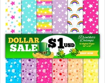Cute Digital Paper - Star Digital Paper - Polka Dot Digital Paper, Rainbow, Printable Star Paper, Polka Dots Background. PK_DP567