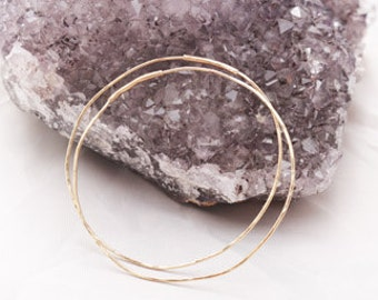 14K gold filled endless hoops 2.5 inches thin hammered texture light weight jewelry gift for her