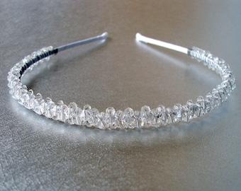Sparkling Crystal Wedding Headband Vintage Austrian Crystals Diadem Jeweled Hairpiece Bridal Headpiece Medieval Renaissance Reign Bride
