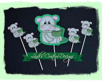 St. Patrick's Day Cardstock Diaper Cake Topper, Hippo Die Cut Baby Gift Topper, Baby Shower Hippo Decor, St. Patrick Party Cupcake Topper