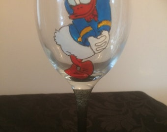 Donald Duck Love Heart Large Hand Painted Wine Glass Washable