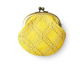 Metal frame coin purse // Lemon Sherbet Yellow