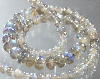 1/2 Strand AAA Blue Flash Labradorite Micro-Faceted Rondelles 6mm - 9mm