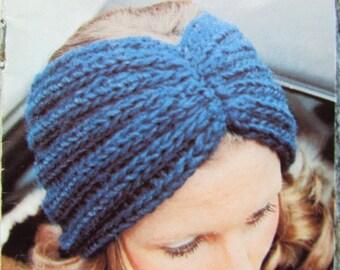 Knitted Earwarmer PDF Pattern, Knit Headband Pattern - Vintage Pattern 2285-212