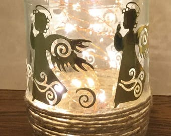 Glass jar with lights, gold, angels, decorated, gift idea