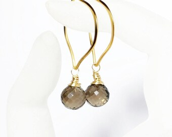 Smoky Quartz Onion Briolette Gemstone Lotus Hoop Earrings, Medium or Large