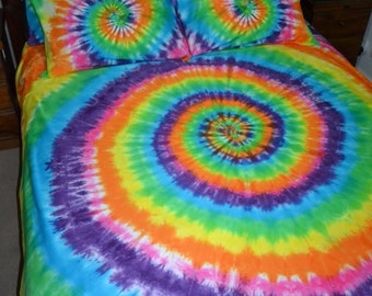 Rainbow Spiral Tie Dye Bed Quilt Cover Set 100% Cotton