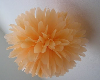 PEACH tissue paper pompom / pastel vintage parisian french wedding decorations engagement party aisle marker poms baby girl shower nursery