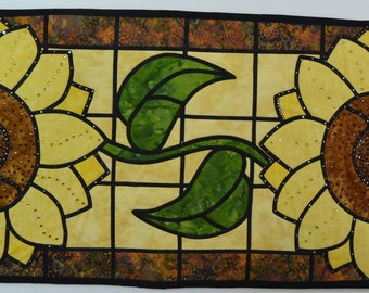 Sunflower Stained Glass Table Runner