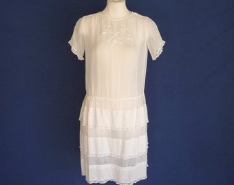 1910s 1920s Edwardian Dress Antique Sheer White Cotton Embroidery Lace Ruffles M