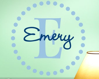 Monogram Vinyl Wall Decal, Large Circle of Dots with Initial and Name for Your Home Decor, Shown: Emery (0172d7v-r3)