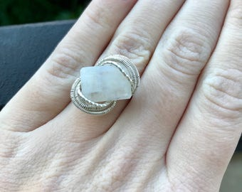 Custom moonstone wire wrapped ring