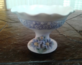 Blue flowered bisque trinket bowl