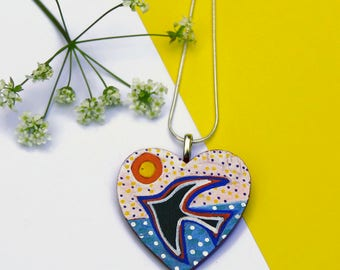 Swallow Necklace, Heart Necklace, Valentines Gift, Hand Painted Pendant, Wood Jewellery, Multicolour Necklace, Handmade Jewelry