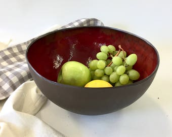 Ceramic bowl, salad bowl, red bowl, modern bowl, large bowl, serving bowl, fruits bowl, centerpiece bowl, pottery bowl