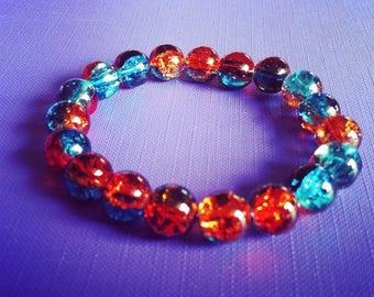 Bracelet grosses perles craquelées turquoise et marron