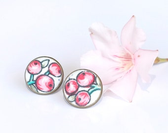 Red Berries Stud Earrings - Fruit Earring Studs - Red and Green Tree on White Earrings - Romantic Fabric Buttons Jewelry - Antique Posts