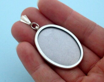 DIY Oval Pendant Setting Frame Mounting in Silver Tone 203S present women gift embroidery cross-stitch jewellery