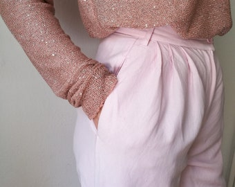 Vintage 90s Benetton High Waisted Linen Straight Pants in Light Baby Pink || Hazel Rey Vintage