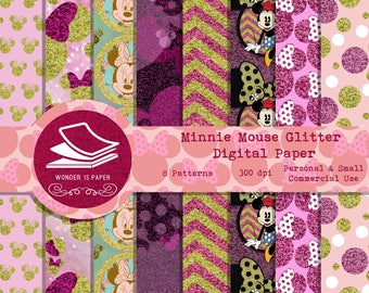 Minnie Mouse Glitter Digital Papers - 8 Designs 12x12in, 30x30 cm - Ready to Print - High Quality