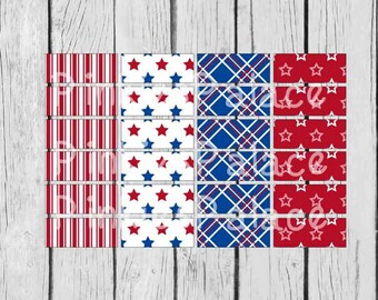 24 Planner Stickers Washi 4th of July Planner Stickers Americana Red White Blue Patriotic PS379g