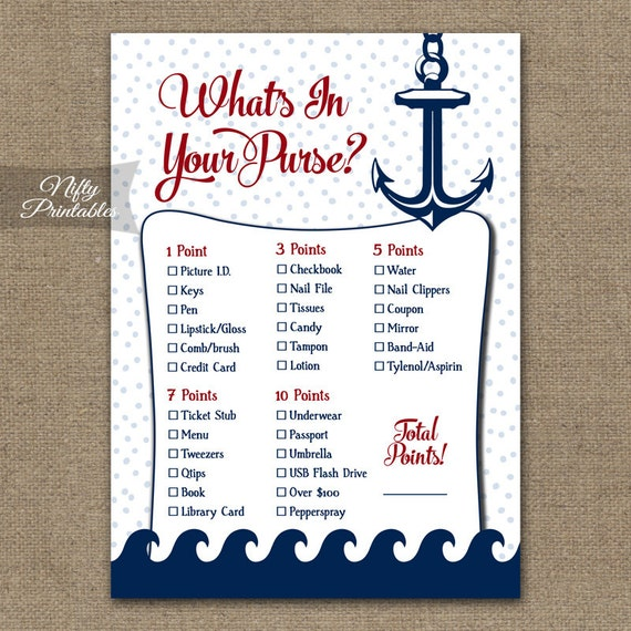 Baby Shower Games In Spanish: Nautical What's In Your Purse Shower Game Nautical Purse