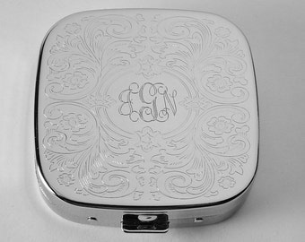 Engraved Pill Box Custom Engraved Personalized Scroll Design Three Compartment Pill Box -Hand Engraved