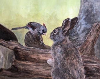 Female Cardinal with Cottontail Rabbit Woodland Watercolor Fine Art Print from an Original Watercolor Painting by artist Joy Neasley