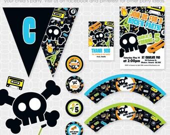 Party Printable Retro Rock'N Party Theme Basic Package - Personalized Printable - skull, skateboard, punk, rocker, guitar