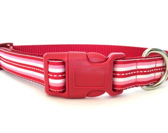 Valentines Day Red, Pink and White Striped Dog Collar - Adjustable