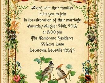 Delilah - Vintage Victorian Love Birds and Botanical Flowers - Printable DIY Spring Wedding Invitation Suite - Customized