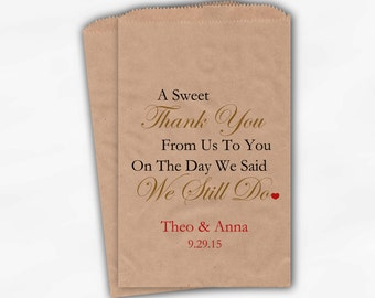 Sweet Thank You Anniversary Candy Buffet Treat Bags - Gold and Red Personalized Kraft Favor Bags - We Still Do Set of 25 Bags (0166)